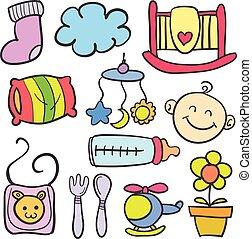 scarabocchiare, di, bambino, vario, giocattoli