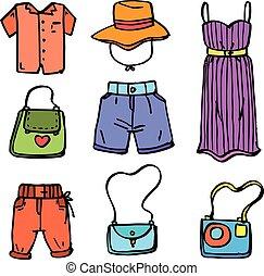 scarabocchiare, donne, set, collezione, vestiti