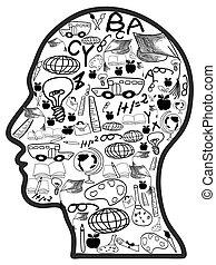 scarabocchiare, educazione, icone, in, testa