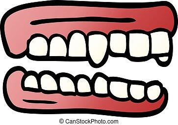 scarabocchiare, falso, cartone animato, denti