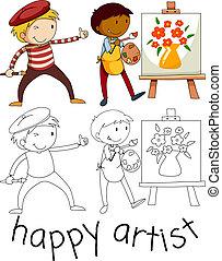 scarabocchiare, felice, carattere, artista