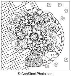 scarabocchiare, fiori, mandala, vaso