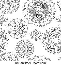 scarabocchiare, fiori, pattern., seamless