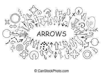 scarabocchiare, frecce, collezione, mano, disegnato, style.