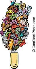 scarabocchiare, hand-drawn, cartone animato