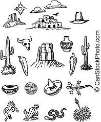 scarabocchiare, hand-drawn, set, deserto