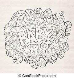 scarabocchiare, illustrazione, mano, vettore, bambino, disegnato, cartone animato