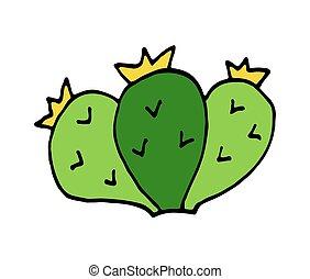 scarabocchiare, illustrazione, mano, vettore, disegnato, cactus, cartone animato