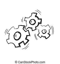scarabocchiare, ingranaggi, vettore, illustrazione