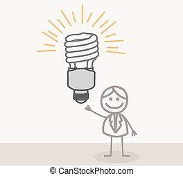 scarabocchiare, lampada, presa, uomo idea