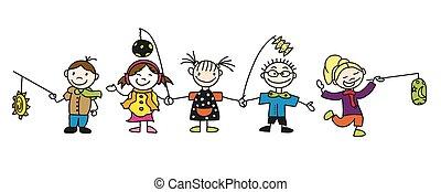 scarabocchiare, latern, bambini, vario, sketched