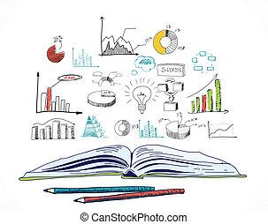 scarabocchiare, libro, aperto, affari