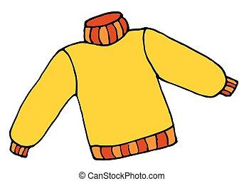 scarabocchiare, maglione, illustrazione, mano, disegnato, cartone animato