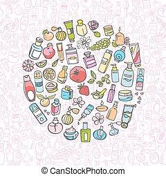 scarabocchiare, mano, cosmetico, disegnato