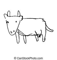 scarabocchiare, mano, mucca, disegnato