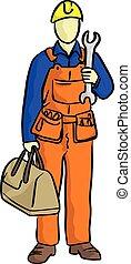 scarabocchiare, meccanico, con, uno, borsa, equipments, e, grande, strappare, su, suo, mano, vettore, illustrazione, schizzo, mano, disegnato, con, nero, linee, isolato, bianco, fondo