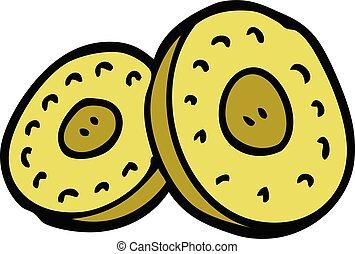 scarabocchiare, monete, cartone animato, oro