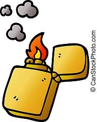 scarabocchiare, oro, cartone animato, accendino