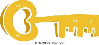 scarabocchiare, oro, cartone animato, chiave