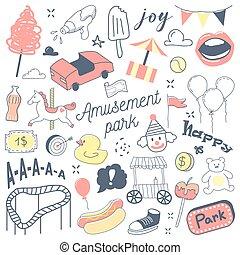 scarabocchiare, pagliaccio, parco, illustrazione, mano, vettore, attrazioni, freehand, disegnato, carousel., divertimento