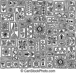 scarabocchiare, pattern., seamless, foglie, fiori, hearts., campionatore