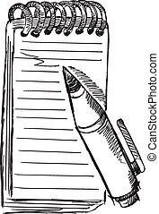 scarabocchiare, penna, vettore, schizzo, blocco note
