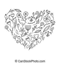 scarabocchiare, piante, e, flowers., floreale, collezione, in, il, forma, di, heart.