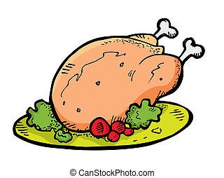 scarabocchiare, pollo, carne