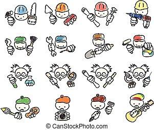 scarabocchiare, professioni, icone