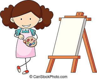 scarabocchiare, ragazza, pittura, artista