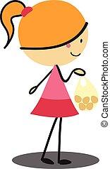 scarabocchiare, ragazza, shopping