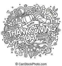 scarabocchiare, ringraziamento, illustrazione, mano, vettore, disegnato, cartone animato