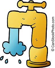 scarabocchiare, rubinetto, cartone animato, colatura