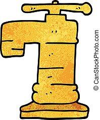 scarabocchiare, rubinetto, cartone animato, oro, placcato
