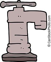 scarabocchiare, rubinetto, cartone animato
