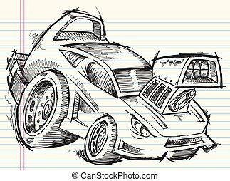scarabocchiare, schizzo, automobile via, vettore