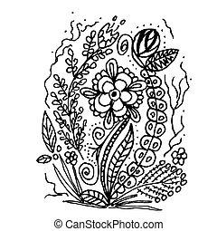 scarabocchiare, schizzo, fiori, disegnato, mano