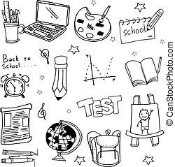 scarabocchiare, scuola, educazione, oggetto