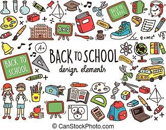 scarabocchiare, scuola, elementi, indietro