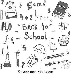 scarabocchiare, scuola, set., indietro