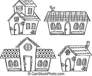 scarabocchiare, set, casa
