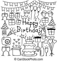 scarabocchiare, set., compleanno, mano, vettore, disegnato, linea, felice