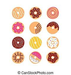 scarabocchiare, set, donuts