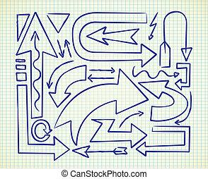 scarabocchiare, set, freccia