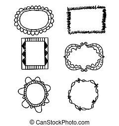 scarabocchiare, set., illustrazione, mano, vettore, cornici, disegnato