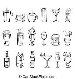 scarabocchiare, set., illustrazione, vettore, handdrawn, bibite