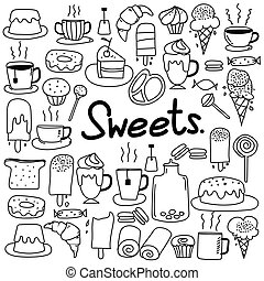 scarabocchiare, set., mano, dolci, vettore, disegnato