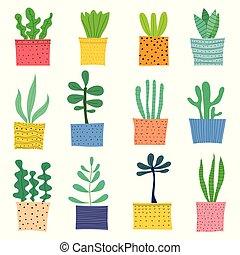 scarabocchiare, set., mano, vettore, disegnato, cactus