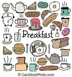 scarabocchiare, set., mano, vettore, disegnato, colazione