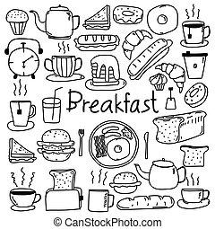 scarabocchiare, set., mano, vettore, disegnato, linea, colazione
